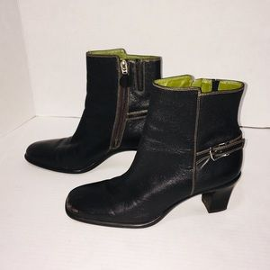 Cole Haan Black Booties Chunky Heel Leather Boots